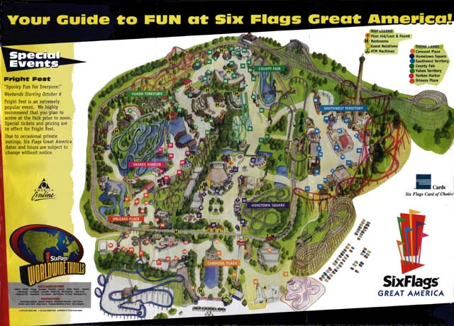 Map Of 6 Flags Great America.Six Flags Great America 2001 Map