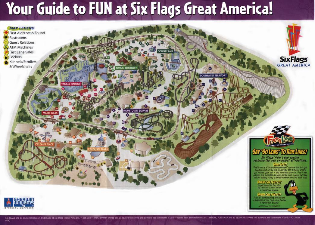 Map Of 6 Flags Great America.Six Flags Great America 2004 Map