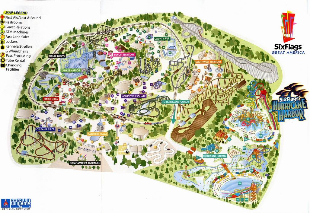 Map Of 6 Flags Great America.Six Flags Great America 2005 Map
