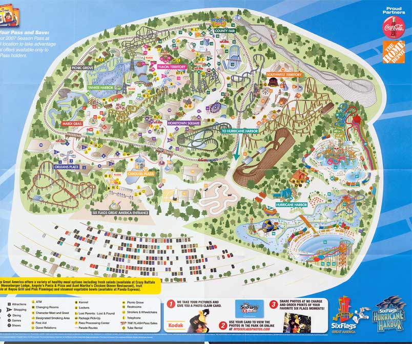 Map Of 6 Flags Great America.Six Flags Great America 2007 Map