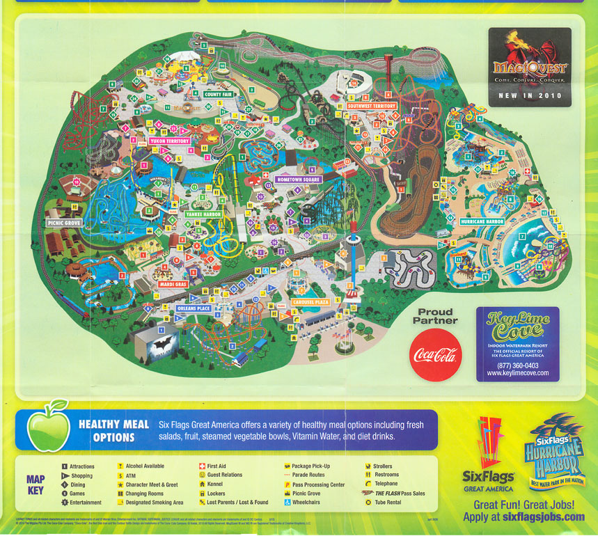 Six Flags Great America 2010 Map