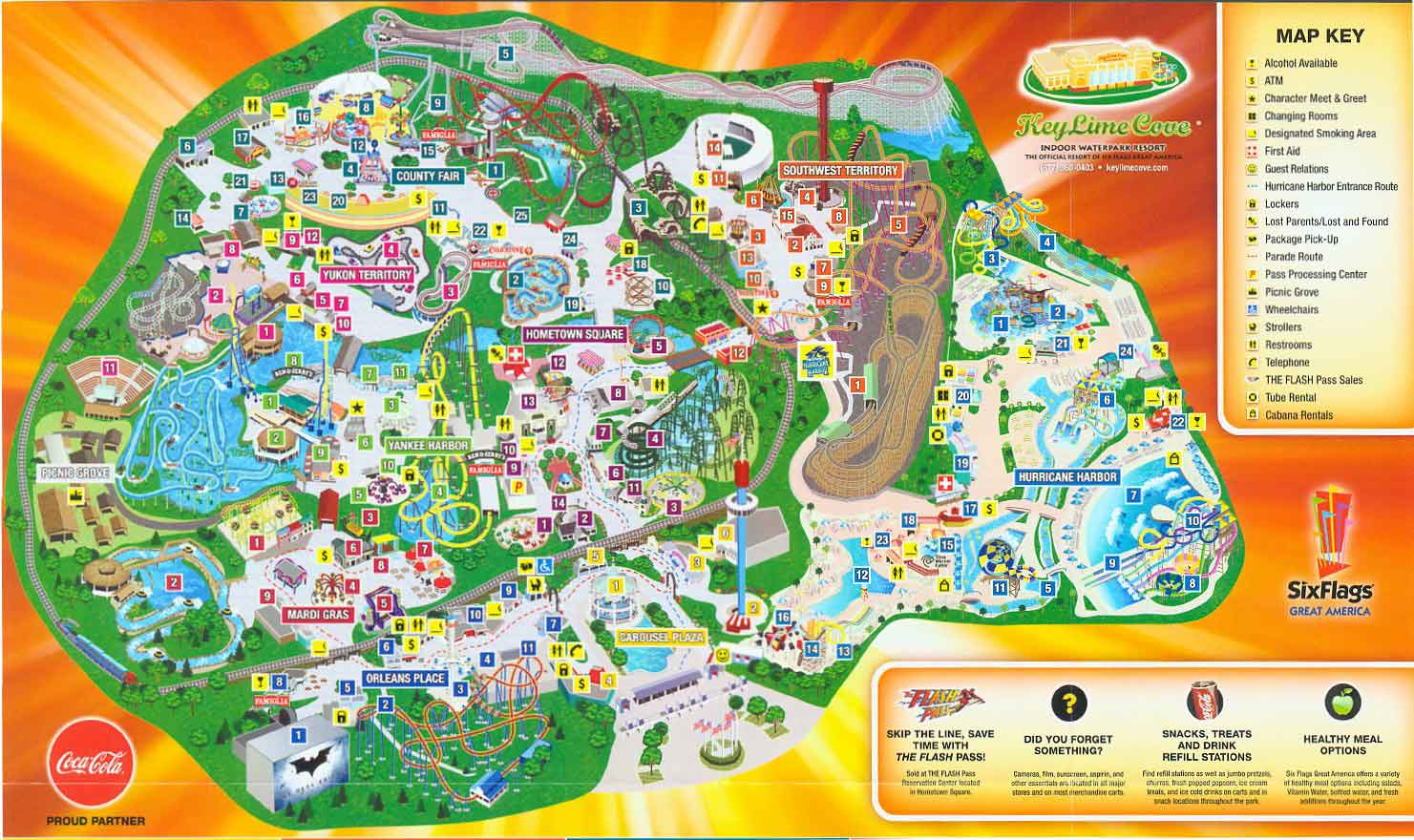 Map Of 6 Flags Great America.Six Flags Great America 2012 Map