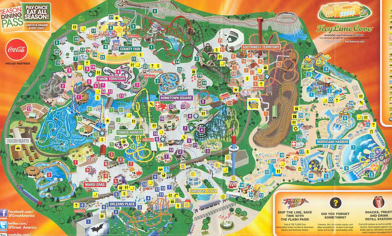 Map Of Six Flags Great America Six Flags Great America 2013 Map
